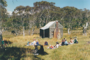 Photo John Purves. Southern Alps Ski Club Bushwalkers at Broken Dam hut 1997