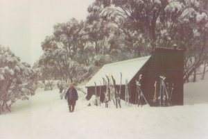 Photo John Purves. Rex Cox outside Grey Mare Hut during The Crossing 1991.