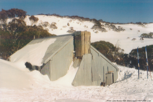 Photo John Purves. Mawsons Hut KNP under snow 1991.