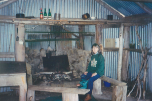 Photo Patty Purves. Barbara Brown at Patons Hut Easter 1996.