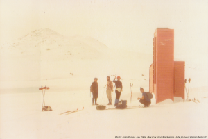 Photo John Purves. Outside Cootapatamba Hut June 1984.
