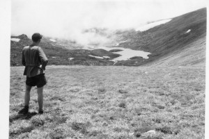 Unnamed taking in the vista of Albina Lake, 1947; Peter Woolley Collection.