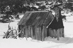 Boltons Hut in snow 1977 Reet Vallack Collection