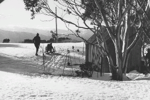 Grey Hill Caf� in snow 1977 Reet Vallack Collection