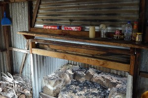 ACT Forests Hut inside view of fireplace - Greg Hutchison, Apr 2015