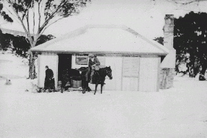 Nearby Tyrells Hut in the snow, photo unknown. Only fireplace and roof remain.