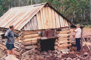 John Hamilton at Vickerys inspection, showing repaired chimney, 1988.