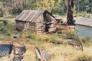 Vickerys Hut Workparty, photo of burnt chimney, 1987.