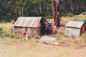 KHA workparty at Vickerys Hut on a hot day, 1987.