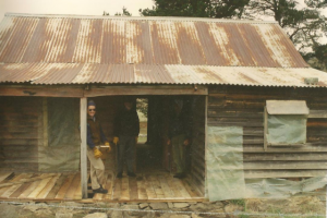 Westermans Hut verandah before restoration, Maurice Sexton?, 1992.